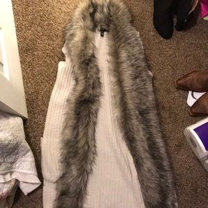 Jessica Simpson fur vest with pockets